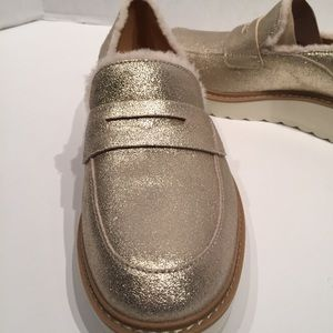 UGG Shoes - Ugg Atwater Spill Seam Gold Glitter Wedge Loafers